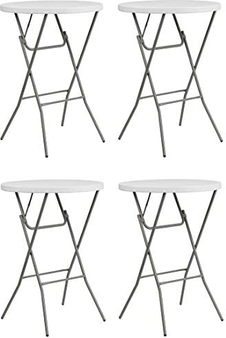 Flash Furniture 32 Round Granite White Plastic Bar Height Folding Table 4 Pack