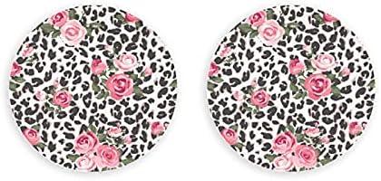Cute Rose Seamless Mix Leopard Vector Abrebotellas 2 Piezas Abridor de cerveza Nevera Imanes circulares