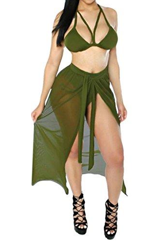 3 Piece Bikini (Kisscy Women's Straps Cut Out Mesh Maxi Skirt Coverup Three Pieces Swimsuit M)