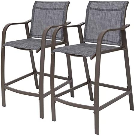 Crestlive Products Counter Height Bar Stools All Weather Patio Furniture with Heavy Duty Aluminum Frame in Antique Brown Finish for Outdoor Indoor, 2 PCS Set Black Gray