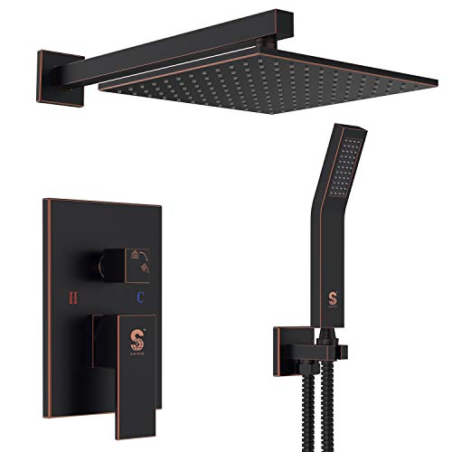 SR SUN RISE Oil Rubbed Bronze Shower System 10 Inch Brass Bathroom Luxury Rain Mixer Shower Combo Set Wall Mounted Rainfall Shower Head System(Contain Shower faucet rough-in valve body and trim) - Shower Oil Bronze Rubbed
