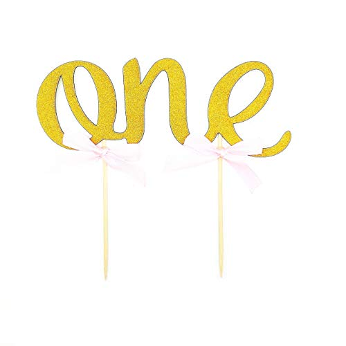 (Handmade 1st First Birthday Cake Topper Decoration - One - Made with Double Sided Gold Glitter Stock,Set of 2)