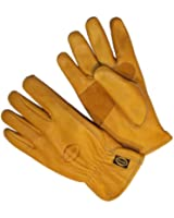 G & F 6203L-3 Premium Genuine Grain Cowhide Leathers with Reinforced Patch Palm, Work Gloves, Drivers Glove 3-Pair, Large