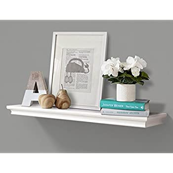 AHDECOR Deep Floating Shelves Display Ledge Shelf with Invisible Blanket (36 in, White)