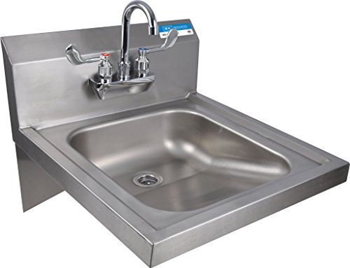 "BK Resources BKHS-ADA-S-P-G Wall Mounted Stainless Steel ADA Compliant Hand Sink with 3.5"" Gooseneck Splash Mount Faucet, 14""x 16"" Bowl Size, 17.25"" Height, 22"" Width, 20"" Length"