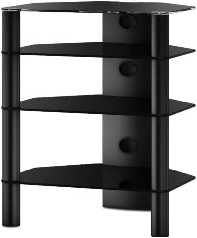 SONOROUS - Mueble HiFi 4 estantes. Vidrio Negro/Chasis Negro. Ref. RX2140-NN: Amazon.es: Electrónica