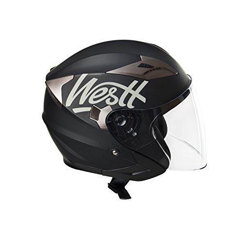 Amazon.es: Westt® Jet · Casco moto jet negro mate incluye gafas de sol (doble visera) ECE homologado 5 años de garantía · casco moto abierto ligero ideal ...