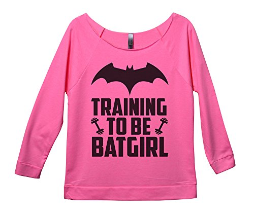 "Funny Threadz Womens Raw Edge 3/4 Sleeve Funny Saying Sweatshirt ""Training to Be Batgirl XX-Large, Pink -"