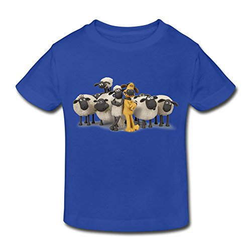 Age 2-6 Kids Toddler Shaun The Sheep Movie Logo Little Boy's Girl's T Shirt RoyalBlue Size 2 Toddler