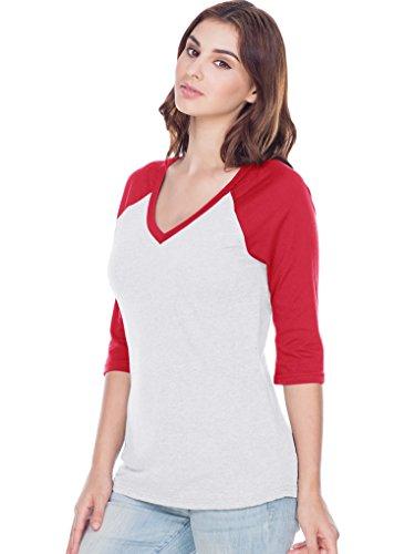 (Kavio! Women Sheer Jersey Cntrst V Neck Raglan 3/4 Sleeve White/Red XL)