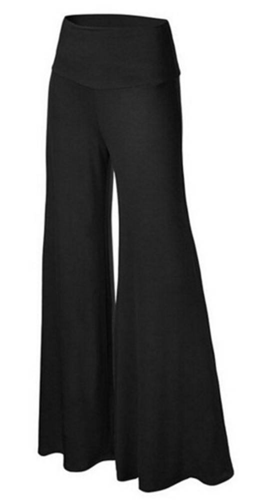 SL Women's Soft Wide Leg Palazzo Pants with High Fold Over Waist Band Black L