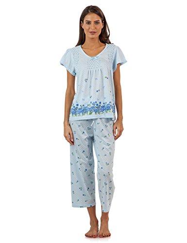 Casual Nights Women's Short Sleeve Floral Border Capri Pajama Set - Blue - Medium