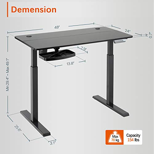 PUTORSEN Electric Height Adjustable Standing Desk, 48 x 24 Inches Sit Stand Home Office Table with Splice Board, Black Frame/Black Top Stand Up Computer Desk with Memory Preset Controller