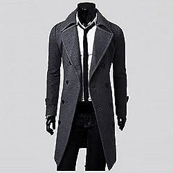 Han Shi Long Jacket, Men Fashion Double Breasted Slim Stylish Trench Coat Parka Tops (L, Grey)