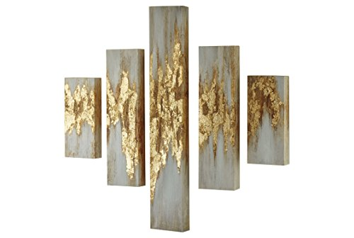 Ashley A8000149 Devlan Set of 5 Wall Art, Gold Finish/White ()