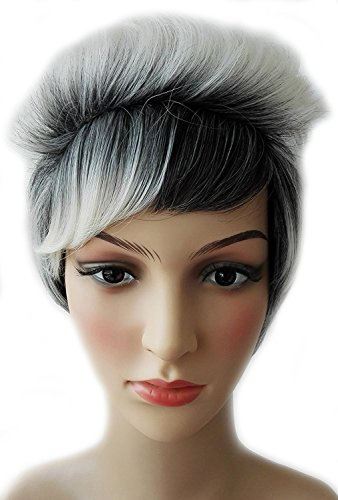 Womens Costume Wigs Uk (2 Tone Black Root to Grey Ombre Short Curly Hair Wig for Women Synthetic Wig Costume Party Wig 30CM)