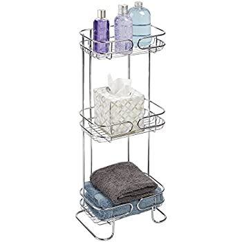 MDesign Free Standing Bathroom Storage Shelves For Towels, Soap, Shampoo,  Lotion, Accessories