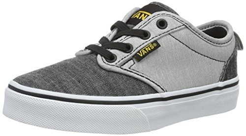 Vans YT Atwood Slip-On, Boys Low-Top Sneakers, Grey (Chambray Black/Gray), 13 Child UK (31 EU) -