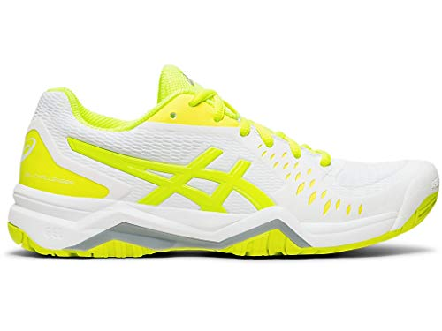 ASICS Women's Gel-Challenger Court Shoes, 7M, White/Safety Yellow (Best Court Shoes For Wide Feet)