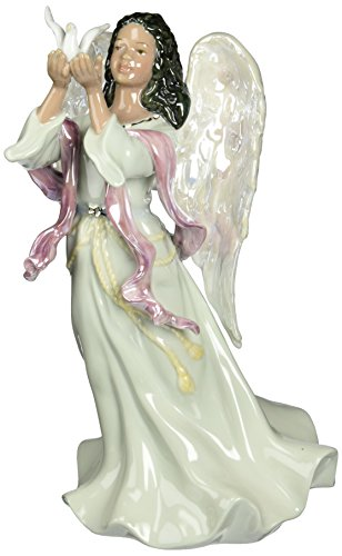 Cosmos 96571 Fine Porcelain African American Angel Musical Figurine, - Angel Music Figurine