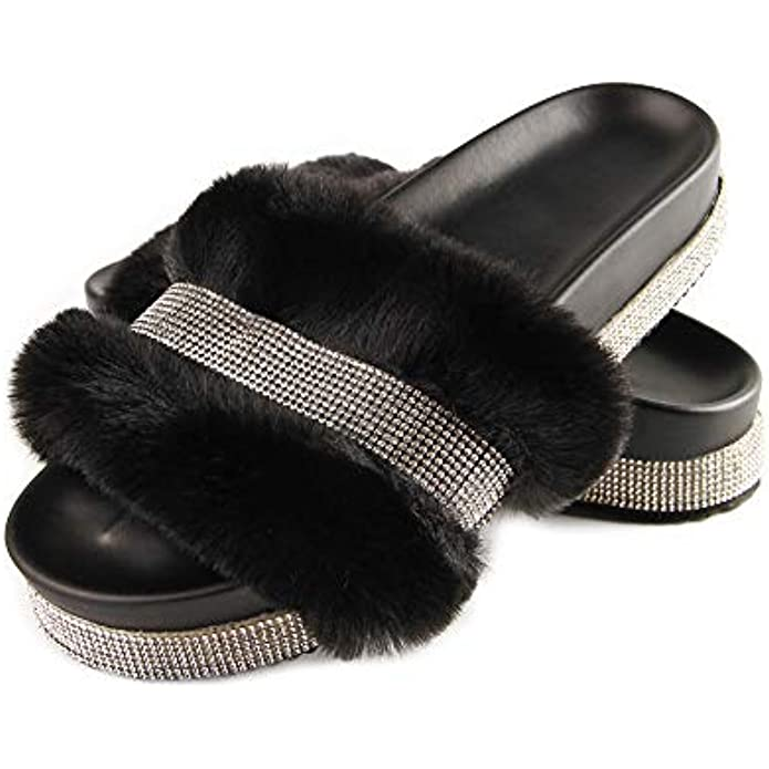 Womens Faux Fur Slides, Girl Comfy Cute Thick Soled Fluffy Fur Platform Slides Sandals, Ladies Furry Slippers with blingy Rhinestone Strap…
