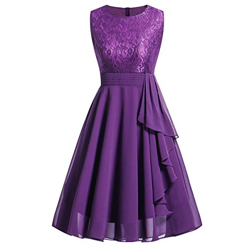 DEATU Bridesmaid Lace Dress Women Sleeveless/Long Sleeve Formal Ladies Wedding Bridesmaid Lace Long Dress(D-Purple ,L)]()
