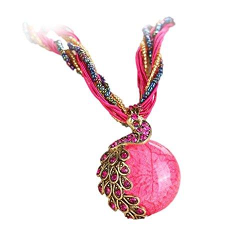 IEason Womens Rhinestone Peacock Gem Pendant Statement Necklace (Hot Pink) -