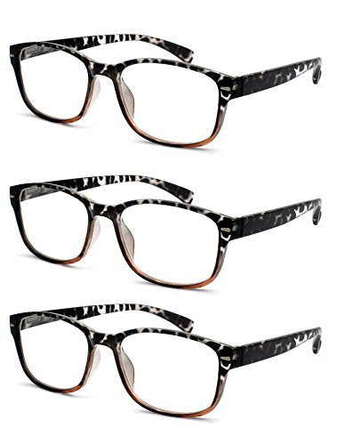 (EYE-ZOOM 3 Pairs Fashion Designer Two Tone Tortoise Reading Glasses with Spring Hinge Comfort Fit for Men and Women Choose Your Magnification, Brown, 2.00 Strength)