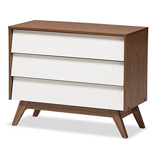 Baxton Studio Chests of Drawers/Bureaus, 3-Drawer Storage Chest, White/Walnut ()