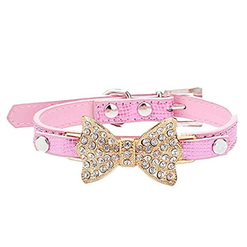 Haoricu Dog Collars, Puppy Hot Cute Crystal Bowknot Small Pet Collar Cat Bell Collar For Dogs Adjustable Leather Buckle Neck Strap Collars (S, Pink) Crystal Dog Cat Pet Collar