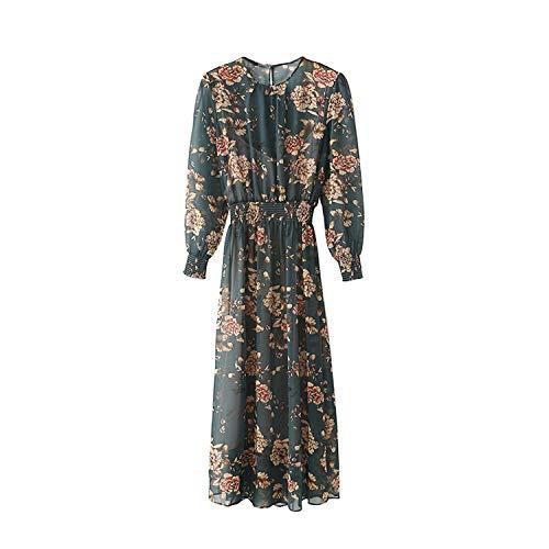 Floral Print Pleated Chiffon Midi Dress Women Two Pieces Sets Elastic Waist Dresses,Multi,M]()