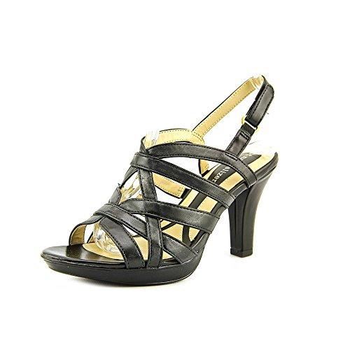 Naturalizer Womens Delma Leather Dress Sandal (7 B(M) US, Black Burnished)