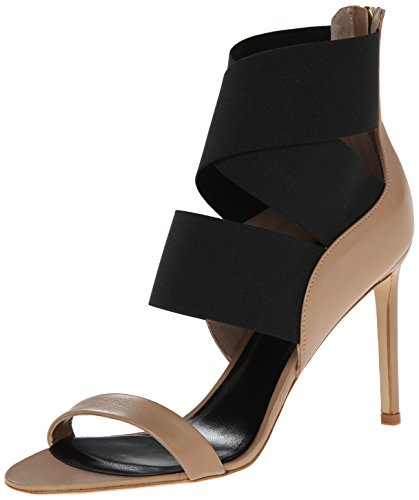 Delman Women's Jean Dress Sandal, White Calfskin/Black Elastic, 8.5 M US Delman Leather Heels