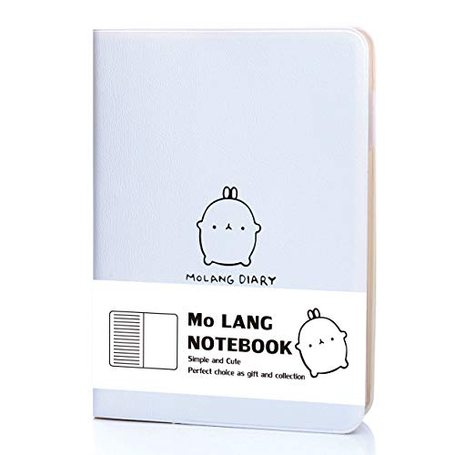 Unlined/Blank/Unruled/Plain Molang Notebook - Jevou Portable Cute Molang Pocket Journal Blank Writing Notebook Diary with Pen Holder+Calendar Stickers 4.5