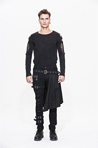 Devil Fashion Men Trouers with Kilt Holes Gothic Detachable Slim Casual Pants 4