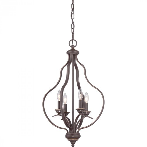 Quoizel VTA5204PN Ventura with Palladian Bronze Finish,  Cage Chandelier and 4 Lights,  Brown