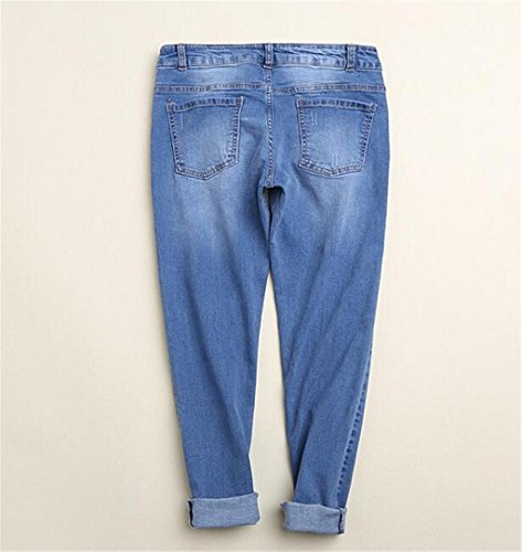 Wgwioo Pantalones Slim Pocket Premium Classic Comfort Light Destruido Denim Azul Relajado Fit Jeans De Pierna Recta Mujer