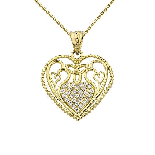 Fine 14k Yellow Gold Diamond Filigree Heart with Trinity Knot Pendant Necklace, 18