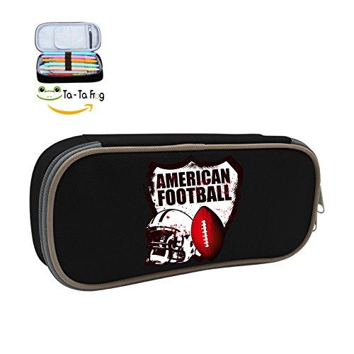 Cute Large Capacity Cool Canvas Pencil Case Pen Bag American Football Logo Student Black