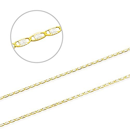 Jewel Connection Two-Tone 14K Valentino Chain Yellow Gold, and White Gold Diamond Cut (24) by Jewel Connection