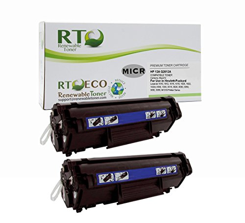 Renewable Toner Compatible MICR Toner Cartridge Replacement HP 12A Q2612A for use in Laserjet M1319 M1319f 3015 3020 3030 3050 3052 3055 1010 1012 1018 1020 1022 (Black, 2-Pack)