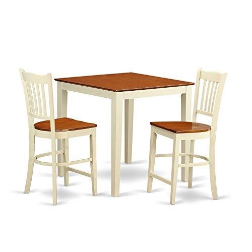 (East West Furniture VNGR3-WHI-W 3 Piece Counter Height Dining Table and 2 Bar Stools Set)