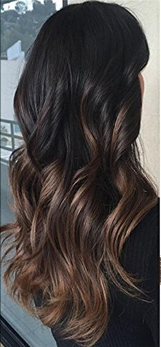 LaaVoo 20 Inch Stick I Tips Brazilian Human Hair Extensions Ombre Color #1B  Off Black to #4 Chocolate...