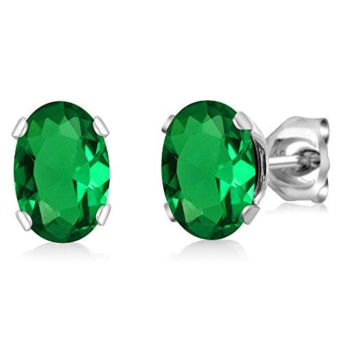 Gem Stone King 1.20 Ct Oval 7x5mm Green Nano Emerald 925 Sterling Silver Stud - Sterling Emerald 7x5mm