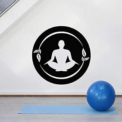 wZUN Pose Etiqueta de la Pared Lotus Pose Yoga Center Sala de meditación Mantra decoración Vinilo Adhesivo 85X85cm