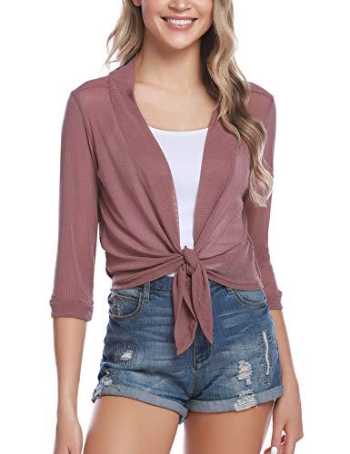 Bolero Bag - iClosam Womens Tie Front 3/4 Sleeve Sheer Shrug Cropped Bolero Cardigan (#1Pink, XX-Large)