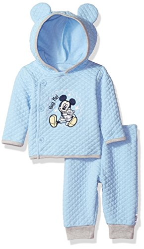Infant 2 Piece Pant (Disney Baby Boys' Mickey Mouse 2 Piece Hoodie With Ears and Pant Set, Blue Bell, 0-3 Months)