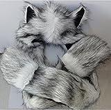 Spot Hood Huskies Adult Teens Full Animal Hoodie Cosplay Scarf Glove with Paws