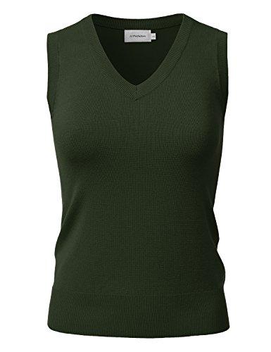 JJ Perfection Women's Stretch Knit V-Neck Sleeveless Pullover Sweater Vest Olive M