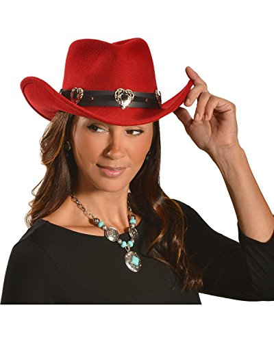 [Master Hatters Women's Julia Cowgirl Hat Red Small] (Red Felt Cowboy Hat With Band)